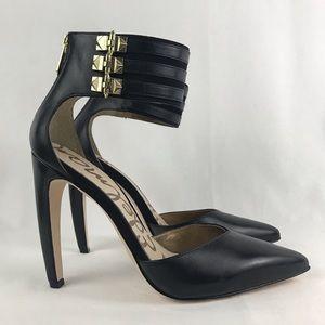 SAM EDELMAN Claire Ankle Cuff Black Heels 8.5 M